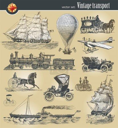 Set of vintage historical transport