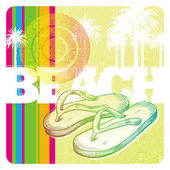 Vector illustration - hand drawn slippers on a abstract tropical background