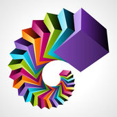 Colorful 3d cubes vector background Eps 10