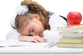 Unavený malá dívka spánek na knihy