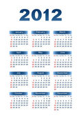 Calendar for 2012 Dark blue letters and figures on a white background