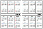 Template of a calendar of white color A calendar for 2012 and 2013