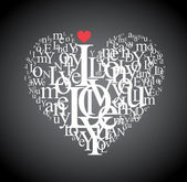 Heart shape from letters - creative typographic composition