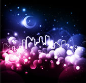 Abstraktní noční město vektorové pozadí