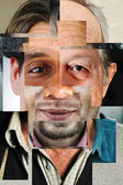 Human face made of several different , artistic concept collage