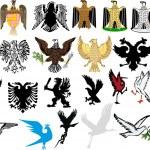 Постер, плакат: National heraldic eagles collection
