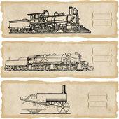 Stem locomotives clip art against grunge background