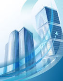 Modern business background with abstract cityscape and arrow