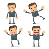 Set of funny cartoon businessman in various poses for use in presentations etc
