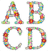 Floral alphabet set letters A - D isolated on white background