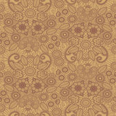 Hand-Drawn henna Mehndi Abstract Flowers Vector illustration Seamless
