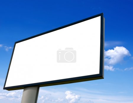 White advertising wall on blue sky