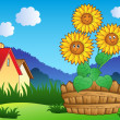 thumbnail of Meadow with three cute sunflowers