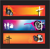 Set of banners for christian religious music rock or pop bands for young kids and teenagers using gradient mesh