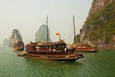 Boote in wunderschönen Halong Bucht