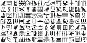 A collection of ancient Egyptian symbols Various Egyptian hieroglyphs