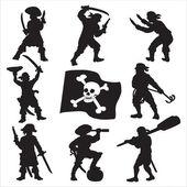 Piráti posádky siluety sada 1