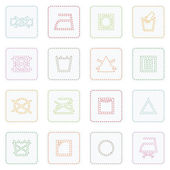 Collection of icons with stitcked fabric care symbols