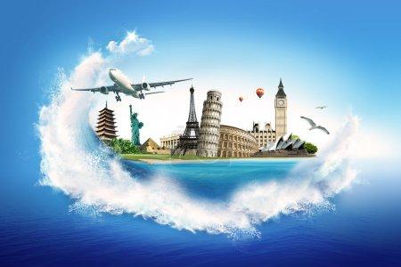Постер, плакат: Travel – collection of the world monuments, холст на подрамнике