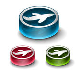 3d glossy travel web icon includes 3 color versions
