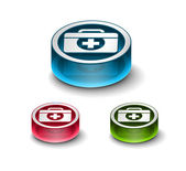 3d glossy medical web icon includes 3 color versions