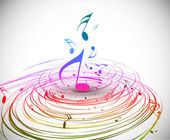 Music colorful music note theme - rainbow swirl wave line background