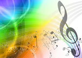 Rainbow music background with notes
