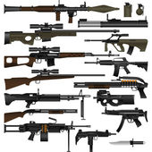 Layered vector illustration of various weapons