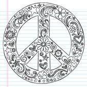Znamení míru ručně tažené útržkovité doodle