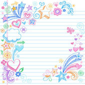 Hand-Drawn Back to School Sketchy Doodles- Design Elements with Clouds Flowers Hearts & Stars on Lined Notebook Paper Background- Vector Illustration