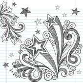 Hand-Drawn Back to School Sketchy Stars and Starbursts Doodles- Design Elements on Lined Notebook Paper Background- Vector Illustration