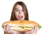Dívka jíst jídlo
