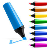 Realistic multi-colored markers Illustration on white background