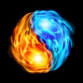 Symbol of yin and yang of the black background in the form of red and blue fire