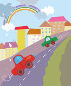 Funny city cartoon with cars and rainbow