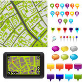 City Map With GPS Icons Vector Illustration