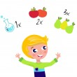 Постер, плакат: Cute blond boy learning math and counting isolated on white