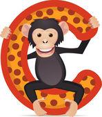 Animal alphabet C with Chimpanzee cartoon
