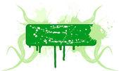 Green floral placard Vector illustration
