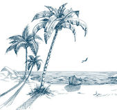 Summer beach with palm trees seagulls and boat on shore; hand drawn vector