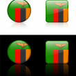Постер, плакат: Zambia Flag Buttons on White and Black Background