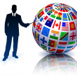 thumbnail of Businessman Presenting Flags Globe