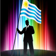 thumbnail of Uruguay Flag with Businessman on Abstract Spectrum Backgroun