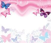 Sfondo rosa con fiori e farfalle