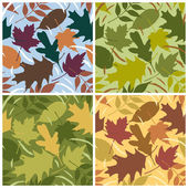 Vector seamless pattern of rustling leaves in four seasonal colorways