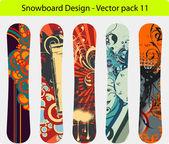 Snowboard design pack - full editable vector Illustration