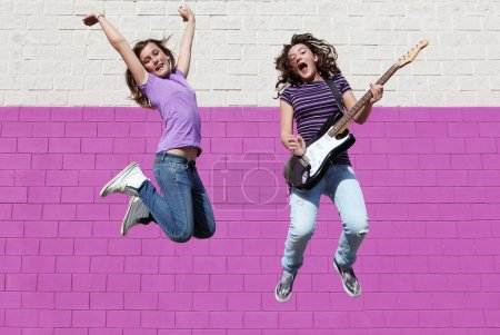 Teen pop group with guitar