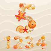 Numbers vector sea life font on sand background