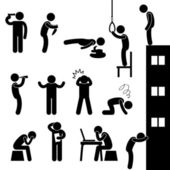A set of human figure showing desperation and suicidal attempt