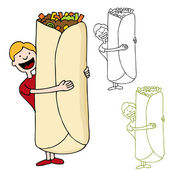 An image of a man about to eat a giant burrito